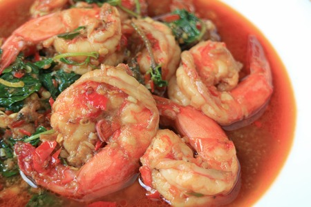 Closed Up Thai Style Spicy Prawns Stir Fried with Holy Basil Called Pad Grapao Goong