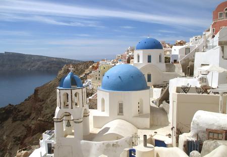 White Churches with the Blue Dome, the Beautiful Landmark of Santorini island, Greece