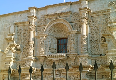 Stunning Sillar Stone Carving Facade of the Church of Saint Augustine in Arequipa, Historical site in Peru Reklamní fotografie