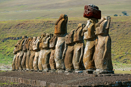 The Iconic Fifteen Moai Statues of Ahu Tongariki Ceremonial Platform, Archaeological site on Easter Island, Chile, South America