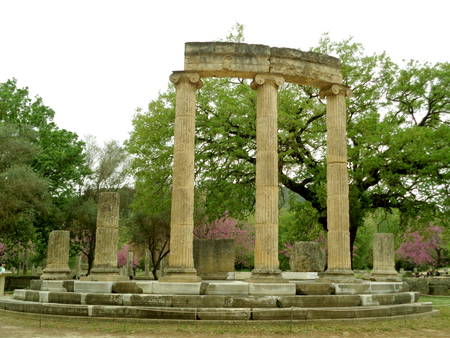 The Philippeion, Round Shaped Ancient Greek Sanctuary in Archaeological Site of Olympia, Greece