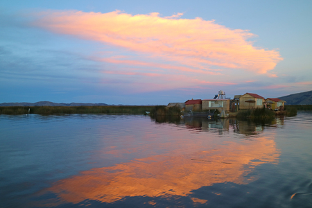 Uros Floating Islands at Sunset, Lake Titicaca