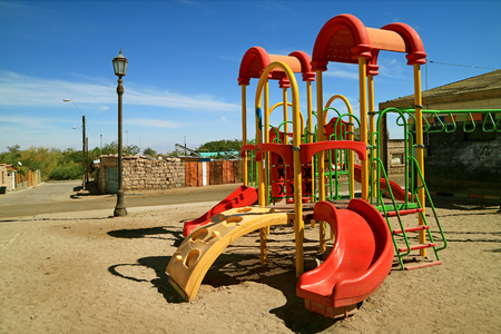 Colorful children playground in Toconao town, Atacama desert, northern Chile, South America