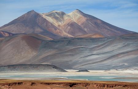 The Picturesque Cerro Medano Mountain with Salar de Talar Salt Lake in the Foreground, Atacama desert, Chile