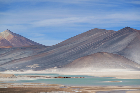Salar de Talar salt Lakes with the Incredible Cerro Medano Mountain in the Backdrop, Chilean Andes, Northern Chile