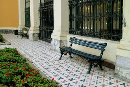 Empty Benches at the Courtyard of Cerro Santa Lucia Historic Park in Santiago, Chile