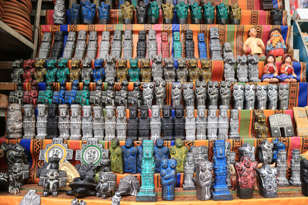 Colorful soapstone ritual figurines for sale at the witches market in La Paz, Bolivia
