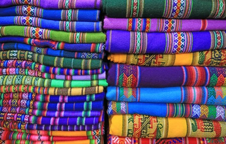 Stacks of Vivid Color Traditional Woven Textiles, La Paz, Bolivia, South America