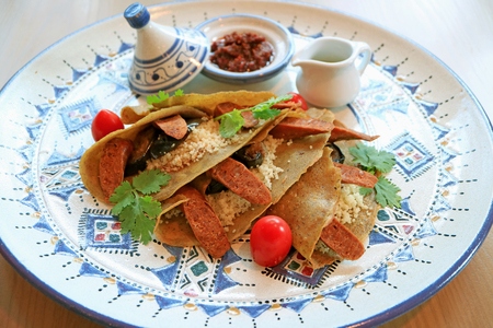 Delectable Moroccan Style Savory Crepes with Couscous, Moroccan Sausages and Eggplants
