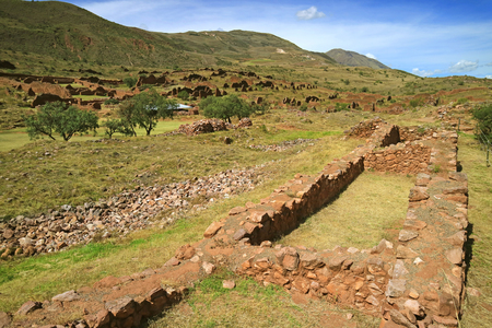 Archaeological site of Piquillacta, amazing Pre-Inca ancient ruins in the South Valley of Cusco, Peru, South America Stok Fotoğraf