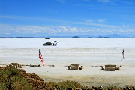 Visitors having lunch on the world's largest Salt Flats Salar de Uyuni, Potosi, Bolivia, South America