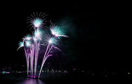Gorgeous blue and purple fireworks against the night sky with free space