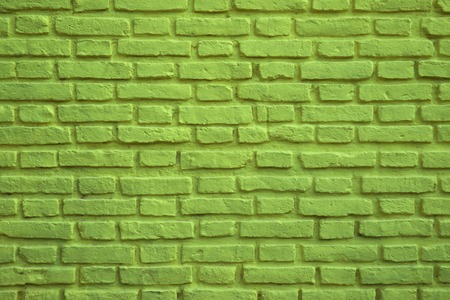 Lime Green Colored Old Brick Wall for Background, Banner or Wallpaper