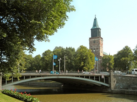 Turku Cathedral, Remarkable Landmark of the City by the River Aura in Turku, Finland, Europe Stock Photo - 124742351