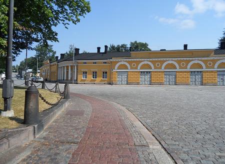 Cobblestone Path Along the Historical Buildings in Turku, Finland, Europe