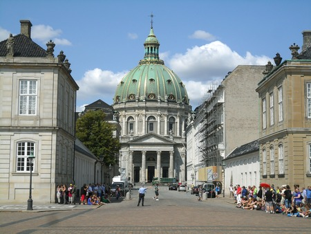 Frederiks Church Has The Largest Church Dome In Scandinavia As Seen From Amalienborg with Many Visitors, Copenhagen, Denmark