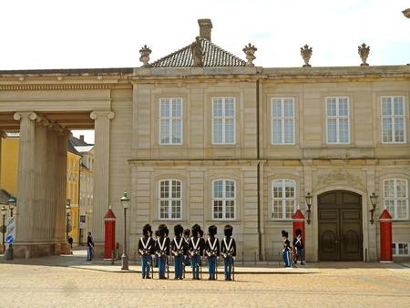 Danish Royal Guards Changing Ceremony at the Amalienborg Palace, Copenhagen, Denmark, Europe