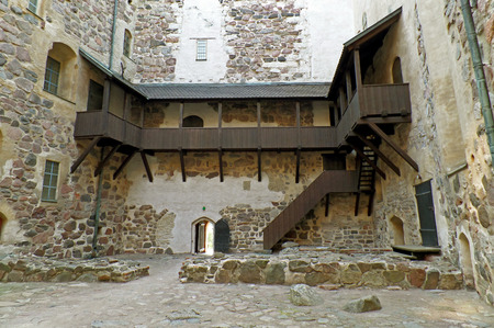 Inner courtyard of Turku castle, one of the oldest buildings still in use in Finland, Scandinavia Editorial