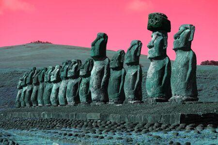 Pop art surreal styled huge Moai statues of Ahu Tongariki, Easter Island, Chile, South America
