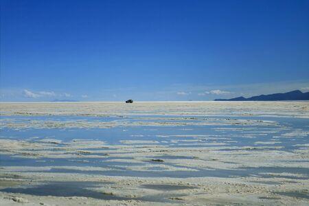 Road Trip to Salar de Uyuni or Uyuni Salts Flats at the End of Rainy Season, Bolivia, South America