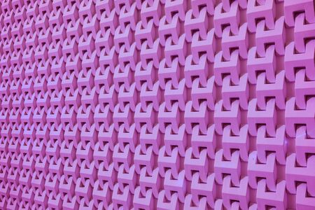Purple Pink Colored Diminishing Perspective of a Modern Building Decorative Facade for Abstract Background