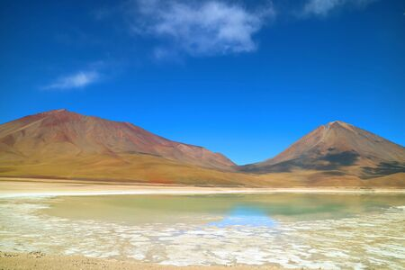 Green Lake or Laguna Verde Becoming Green Color by the Wind with Lincancabur Volcano in the backdrop, Bolivia, South America