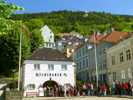 Many of Visitors Queuing at the Floibanen Funicular Station for the Rides to Mount Floyen in Bergen, Norway Editorial