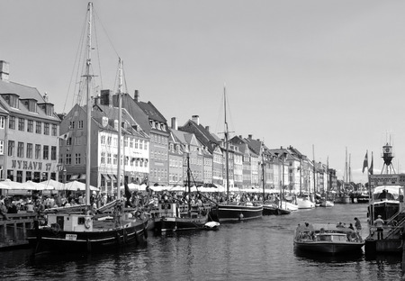 Nyhavn or the New Harbor, Famous District in Copenhagen of Denmark in Monotone