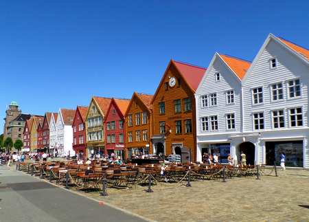 Colorful Historic Buildings of the Bryggen Hanseatic Wharf of Bergen, Norway