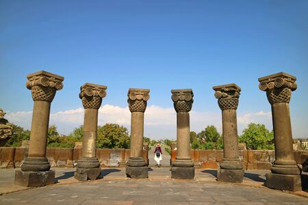 Zvartnots Cathedral or the Celestial Angels Cathedral, Dedicated to St. Gregory, the Famous Ruins in Vagharshapat City, Armenia 版權商用圖片
