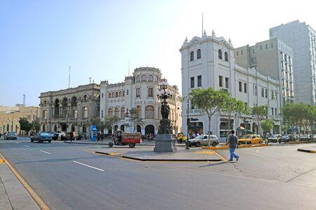 Street Scene of Plaza San Martin or St. Martin Square of Lima, Peru, South America Stock Photo