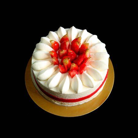 Flower Shaped Fresh Strawberry Vanilla Short Cake Isolated on Black Background