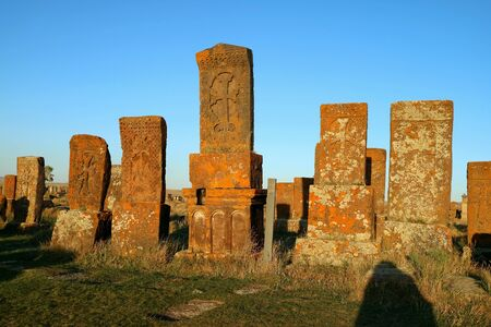 Remains of a Large Cluster of Early khachkars (Armenian Cross-stone) at Noratus Medieval Cemetery, Armenia