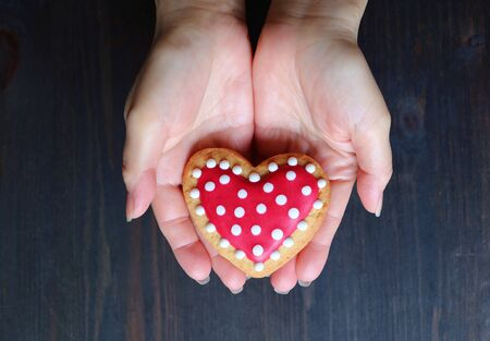 Red and white heart shaped royal icing cookie in hand isolated on dark brown background
