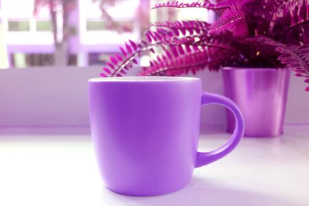 Pop art style vivid purple colored coffee mug with potted ferns on a table Stock Photo