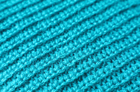 Closeup the Texture of Turquoise Blue Alpaca Knitted Wool Fabric in Diagonal Patterns