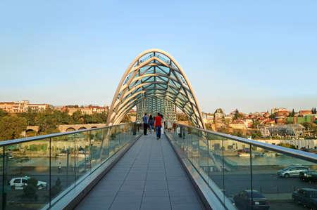 The Bridge of Peace, a Remarkable Landmark of Tbilisi, the Capital City of Georgia Stock Photo