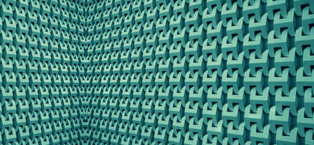 Teal blue colored 3D modern architectural lines for abstract background 免版税图像