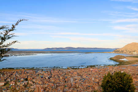 Amazing Aerial View of Lake Titicaca, World's Highest Navigable Lake Seen from the Condor Hill Viewpoint in Puno, Peru, South America