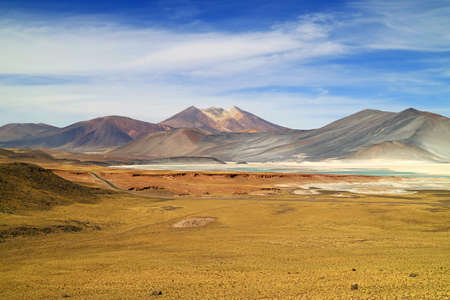 Panoramic View of Salar de Talar, the High Plateau Salt Lakes in Los Flamencos National Reserve, Antofagasta Region of Chile, South America