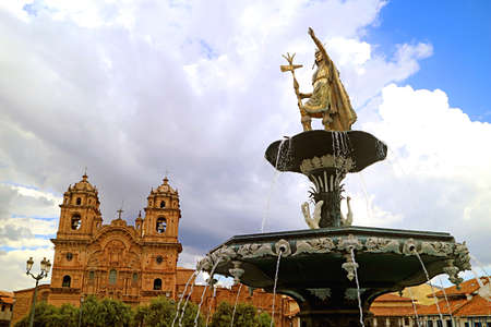 Statue of Pachacuti Inca Yupanqui, the Famous Emperor of the Inca Empire on the Fountain of Plaza de Armas Square, Cusco, Peru