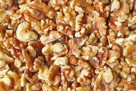Top View of Heap of Walnut Kernels for Background or Banner 免版税图像