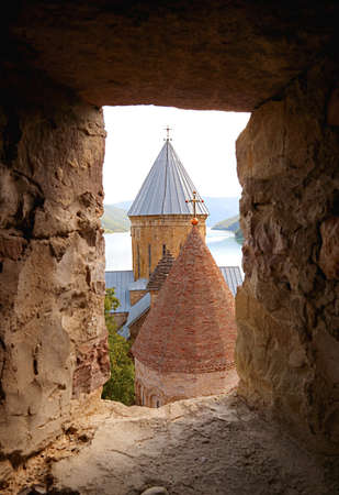 Two Medieval Churches Inside Ananuri Castle Complex as Seen from the Tower's Window, Jinvali Reservoir, Georgia