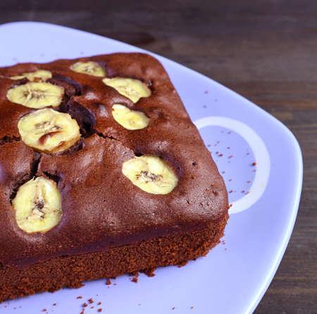 Closeup Mouthwatering Fresh Baked Homemade Wholemeal Chocolate Banana Cake