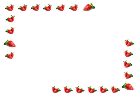 Frame of Single and Double of Vibrant Red Fresh Strawberries on White Background