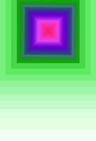 Vivid Color 3D Pyramid with Gradient Green Multiple Layers Square Frame