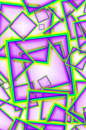 Chaotic geometric square frame pattern in fruity purple and bright yellow green