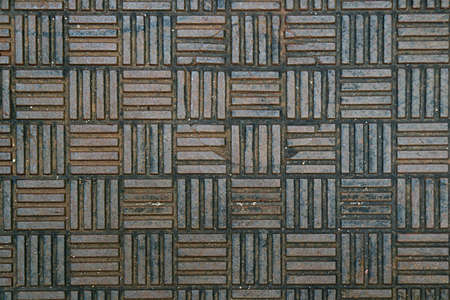 Top View of Weathered Steel Pathway Surface for Abstract Background