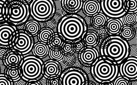 Seamless pattern of black and white various size circles abstract background