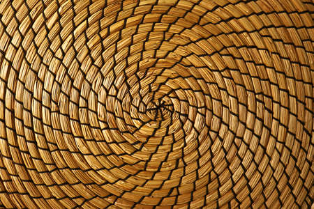 Top view of woven water hyacinth place mat surface for abstract background